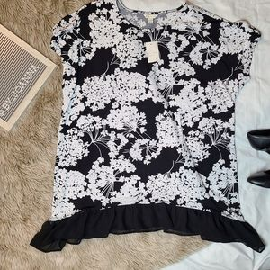 《CATO》 Black and White Floral Top